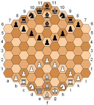 Glinski's hexagonal chess, a chess variant pop...