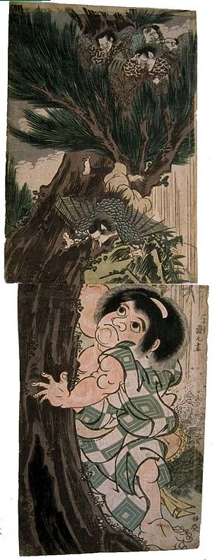 Folk-hero Kintarō climbing a tree to disturb a...