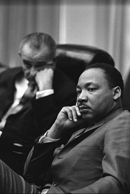 President Lyndon B. Johnson and Rev. Dr. Marti...