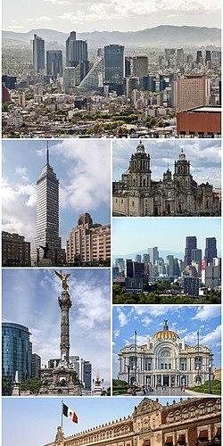 1967b5a842f75 اتجاه عقارب الساعة من الأعلى  أفق باسيو دي لا ريفورما ، كاتدرائية مكسيكو  سيتي ميتروبوليتان