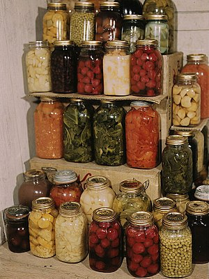 Preserved food in Mason jars