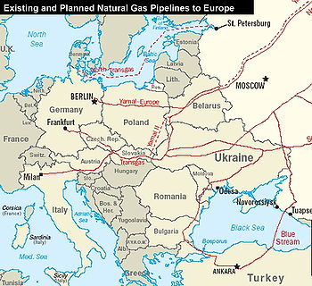 Natural gas pipelines from Russia to Europe