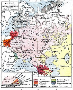 English: Ethnic map of the European part of th...