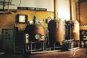 Boilers at the Samuel Adams brewery in Boston,...