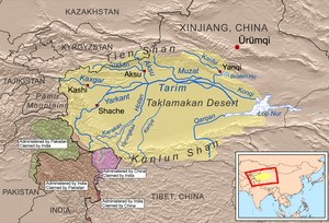This is a map of the Tarim River drainage basi...