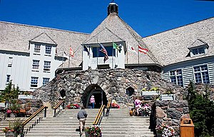 The main entrance of Timberline Lodge, on Moun...
