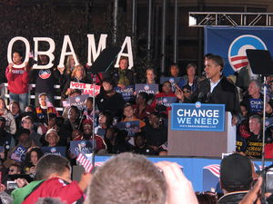 Obama campaigning as a symbol of change in Cle...
