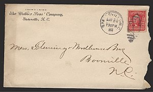 Front of an envelope mailed in the U.S. in 190...