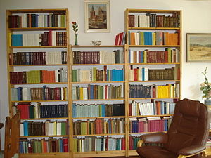 reliures dans un bibliothèque privée / bookbin...