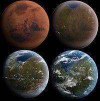 Visión artística de un Marte terraformado en cuatro etapas de desarrollo. (crédito: Michael Carroll)