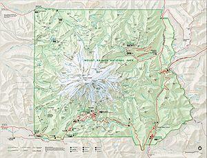 English: NPS map of Mount Rainier National Par...