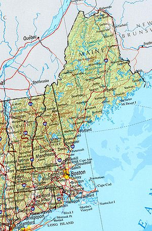 A political and geographical map of New England.