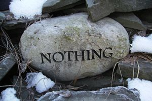 """English: """"Nothing"""" carved into a stone"""