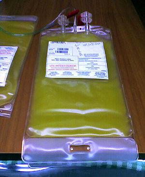 Plastic bag for blood platelets.