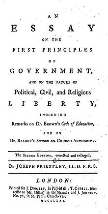 "Page reads: ""An Essay on the First Principles of Government, and on the Nature of Political, Civil, and Religious Liberty, including Remarks on Dr. Brown's Code of Education, and on Br. Balguy's Sermon on Church Authority. The Second Edition, corrected and enlarged, by Joseph Priestley, LL.D. F.R.S. London: Printed for J. Dodsley, in Pall-Mall; T. Cadell, (successor to Mr. Millar) in the Strand; and J. Johnson, No. 72 in St. Paul's Church-Yard. MDCCLXXI."""