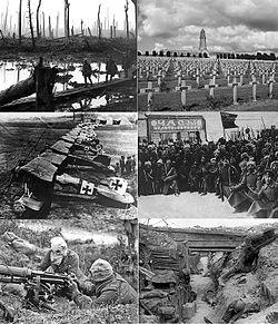 Da in alto a sinistra: fanti britannici a Ypres, ossario di Douaumont, moti rivoluzionari in Russia, fanti britannici in trincea sul fronte occidentale, serventi tedeschi di una mitragliatrice Vickers con maschera antigas, aerei Albatros DIII tedeschi.