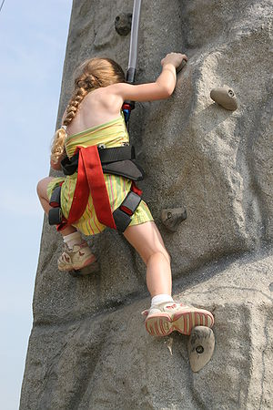 "Climbing a rock wall during ""Scott Airfes..."