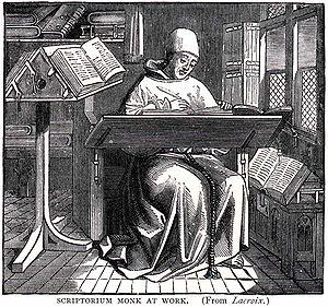 English: Title: Scriptorium Monk at Work. A mo...