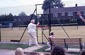 English: Anyone for tennis? In 1987 the grass ...
