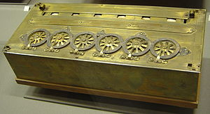 A Pascaline, an early calculator.