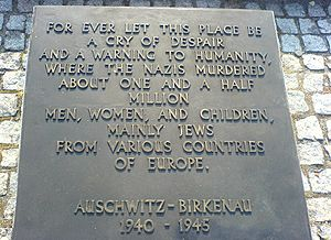 The English-language memorial in Auschwitz-Bir...