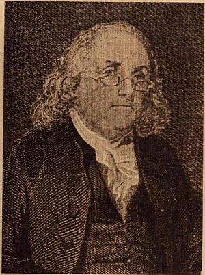 English: Benjamin Franklin wearing spectacles