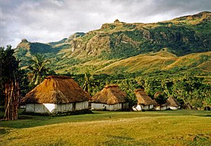 Huts in the village of Navala in the Nausori H...