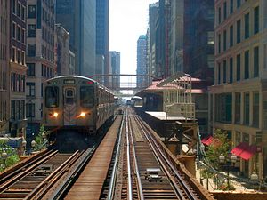 A CTA Brown Line train leaving the Madison/Wab...