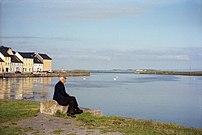 Old man, Ballyknow Quay, River Corrib, Galway,...