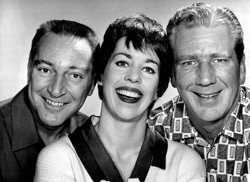Garry Moore, Carol Burnett, and Durward Kirby, in a publicity still photo from 1961's