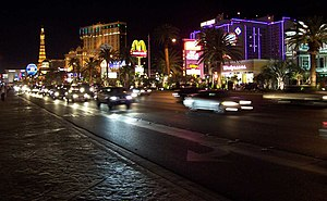 Las Vegas Strip at night with the Aladdin (now...