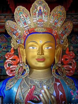Thikse monastery. This statue of the Maitreya ...