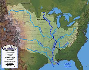 English: Map of the course, watershed, and maj...