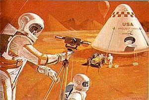 English: Project Deimos: Mars base surface Esp...