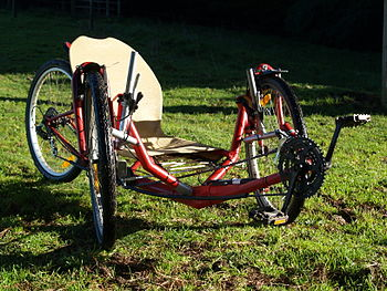 English: Home built delta recumbent trike. Thi...