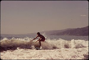 SURFING ALONG MALIBU BEACH, CALIFORNIA - NARA ...