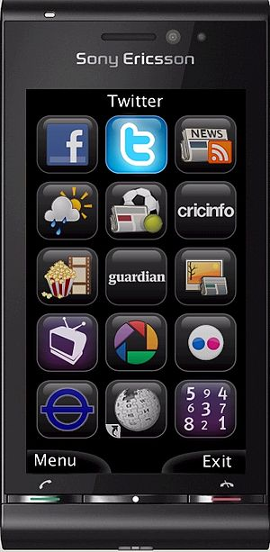 Snaptu home screen on cell phone