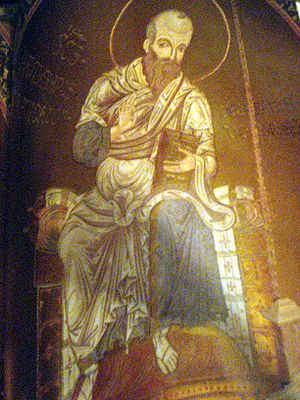 Apostle Paul. Byzantine mosaic at the cathedra...