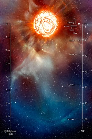 Artist's rendering from ESO showing Betelgeuse...