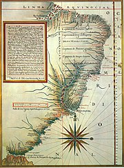 Capitanias hereditárias (Lu�s Teixeira. Roteiro de todos os sinais..., c. 1586. Lisboa, Biblioteca da Ajuda