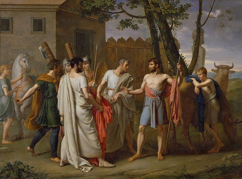 File: Cincinato abandona el arado para dictar leyes a Roma, c.1806 de Juan Antonio Ribera.jpg