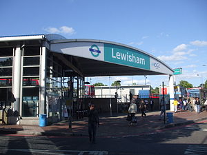 English: Lewisham DLR station entrance, south of the mainline station (Photo credit: Wikipedia)