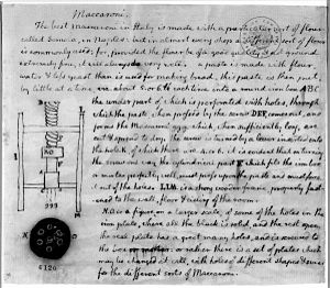 English: Drawing of a macaroni machine, with a...