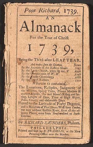 1739 Edition of Poor Richard's Almanac