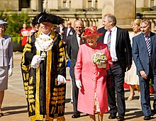Elizabeth visiting Birmingham in July 2012 as part of her Diamond Jubilee tour