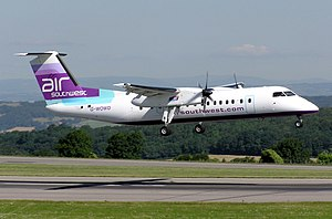 Air Southwest Bombardier Dash 8-311 lands at B...