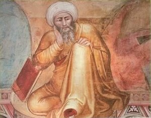 14th-century depiction of Averroes (detail fro...