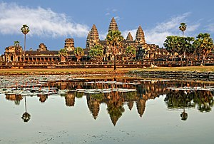 Panoramic view of Angkor Wat in Siem Reap. Tod...