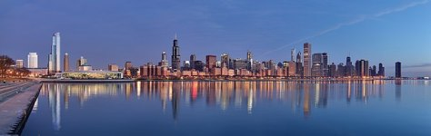 Chicago skyline at sunrise Deutsch: C...