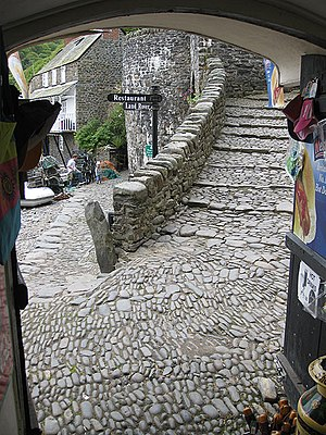 English: Clovelly's cobbles I've never been so...